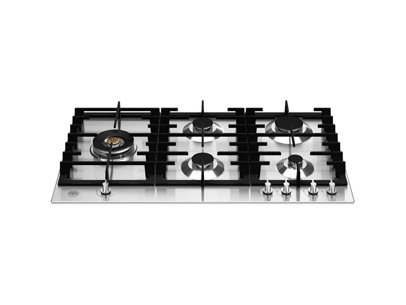 90 cm Gas hob with lateral dual wok - Stainless Steel