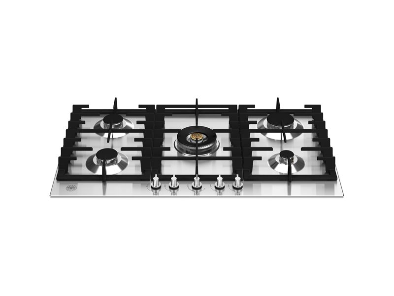 90 cm Gas hob with central dual wok - Stainless Steel