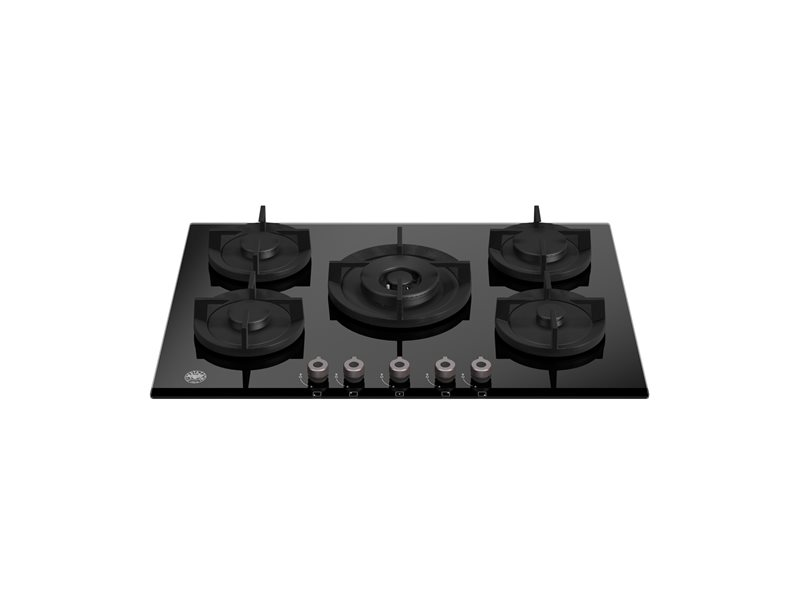 75 cm gas on glass hob with central wok | Bertazzoni - Nero