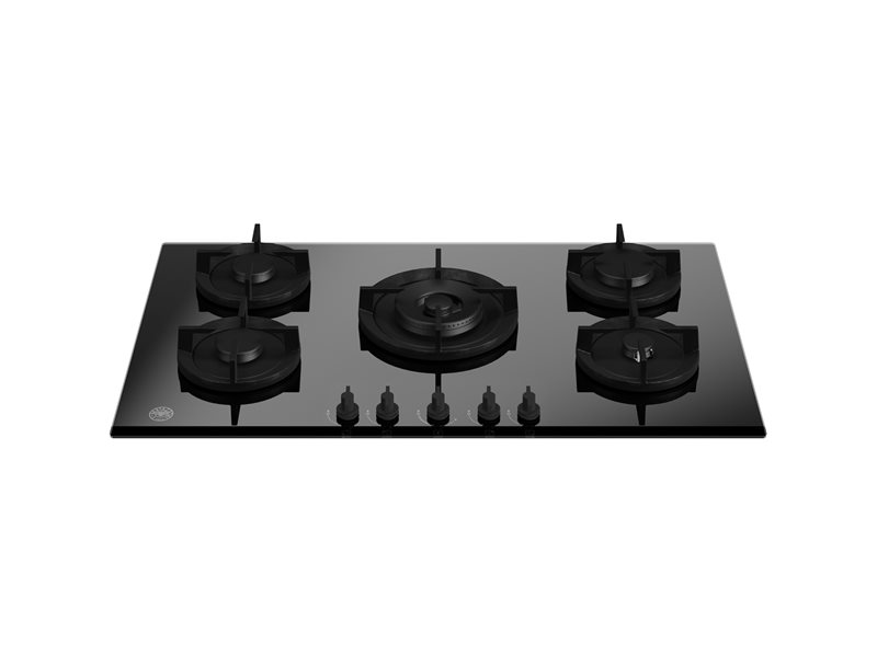 90 cm gas on glass hob with central wok | Bertazzoni - Nero