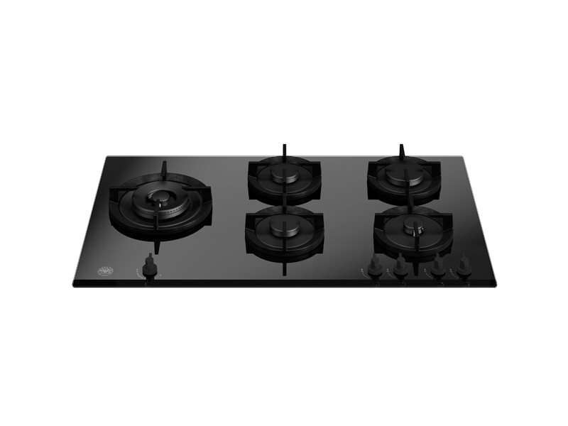 90 cm gas on glass hob with lateral wok | Bertazzoni - Nero