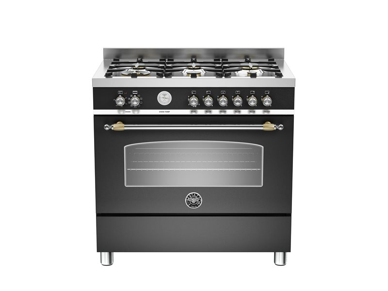 90 cm 6-Burner, Electric Oven - Nero Matt