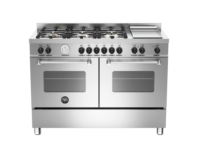 120 cm 6-burners+griddle, eletric double oven | Bertazzoni - Stainless Steel