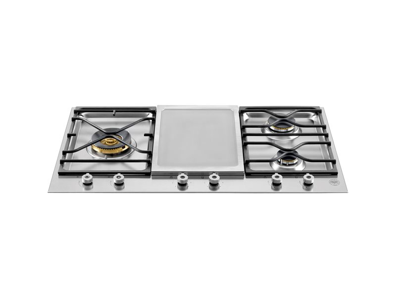 90 3-Segment 3-Burner Gas/Griddle hob | Bertazzoni - Stainless